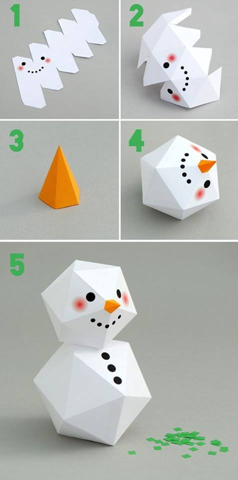 Christmas snowman Craft Tutorial DIY Easy Origami Paper Craft Tutorials (Step by Step)