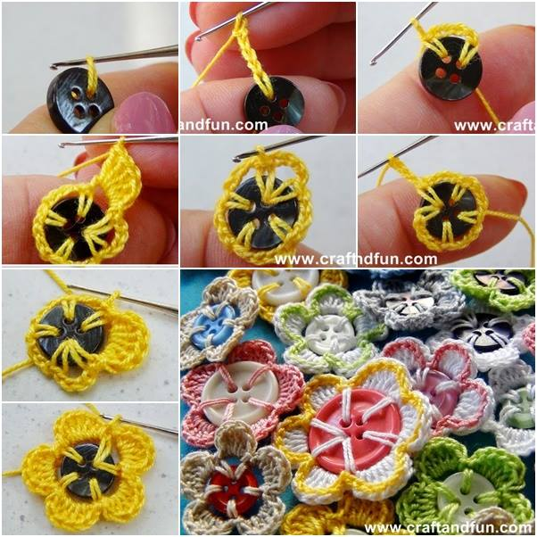 Beautiful Button Flower Designs Step by Step Crochet Patterns Tutorials