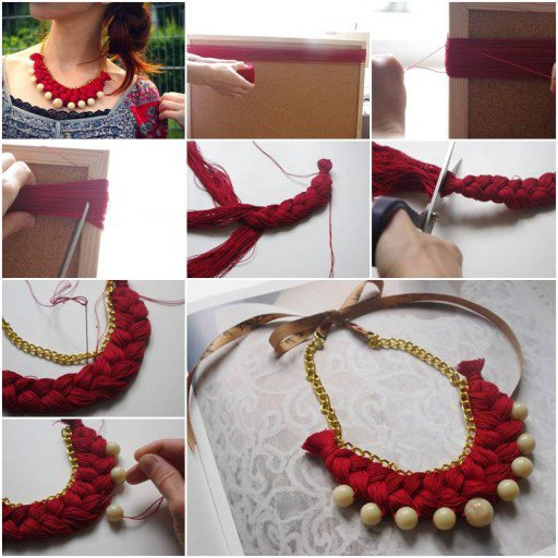 DIY-Braided-Gold-Pearl-Necklace Step by Step Tutorials for Handmade Necklaces