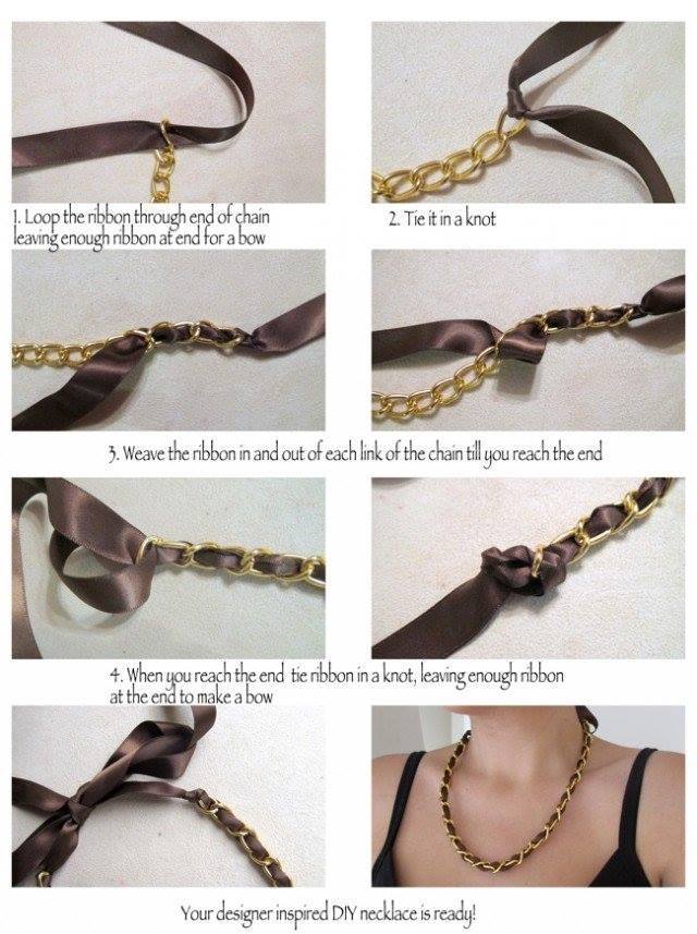 DIY-Designer-Inspired-Ribbon-And-Chain-Necklace Step by Step Tutorials for Handmade Necklaces