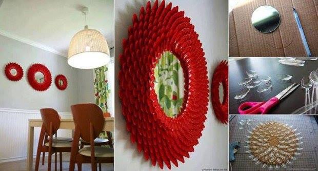 Plastic Spoon mirror Decoration- Craft Tutorial Beautiful & Simple DIY Home Decoration Step by Step Tutorials