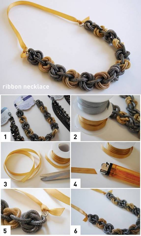 DIY-Necklace-Use-Grograin-Ribbon-For-Necklace-Backs Step by Step Tutorials for Handmade Necklaces