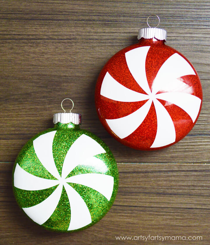 Glitter Peppermint Ornaments Glass Ornaments for Christmas Gift