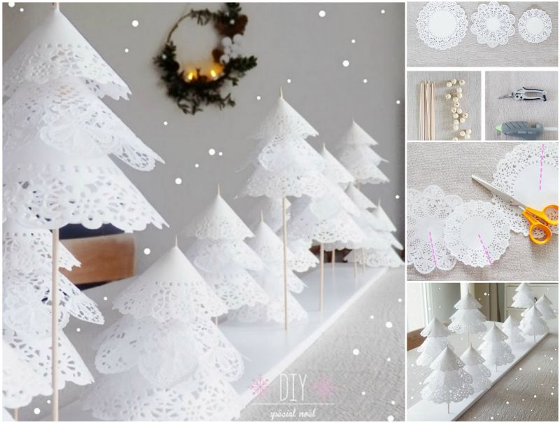 DIY Paper Doily Christmas Trees tutorial Recycle Wooden Pallets With Awesome Furniture Designs