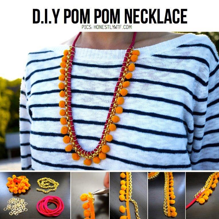 Pom-Pom-DIY-Necklace Step by Step Tutorials for Handmade Necklaces