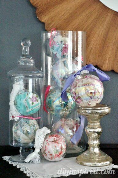 Vintage Handkerchief Ornaments Glass Ornaments for Christmas Gift