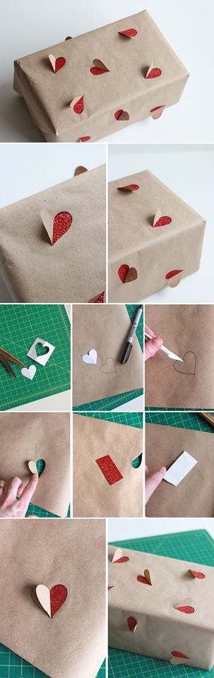 Hearts popping step by step gift wrapping tutorial DIY : Simple Step by Step Gift Wrapping Tutorials