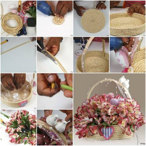 DIY : Simple Step by Step Gift Wrapping Tutorials Jute rope flower basket step by step gift wrapping