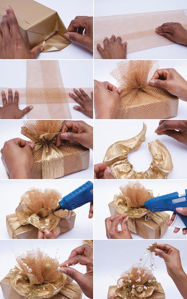 The golden netted step by step gift wrapping with a flower DIY : Simple Step by Step Gift Wrapping Tutorials