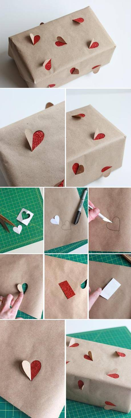 2-simple-valentines-day-gift-wrapping-ideas-l-DIY Heart cut out gift wrapping Genius Tricks for Gift Wrapping - Step by step Ideas