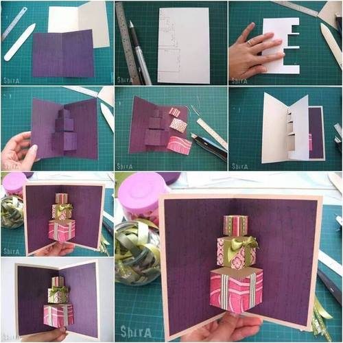 pop-up-card DIY: 3D Gift Box Pop-up Birthday Card Easy Handmade Birthday, Gift Cards (Step by Step)