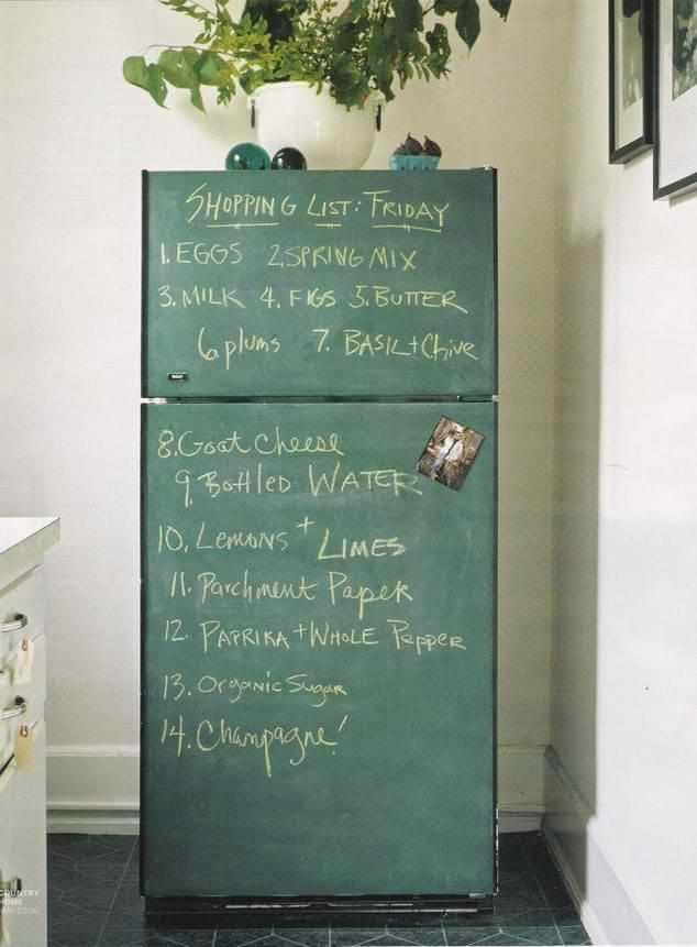 Chalkboard Fridge: So cute! Creative Ways to Use Chalkboard Paint Projects