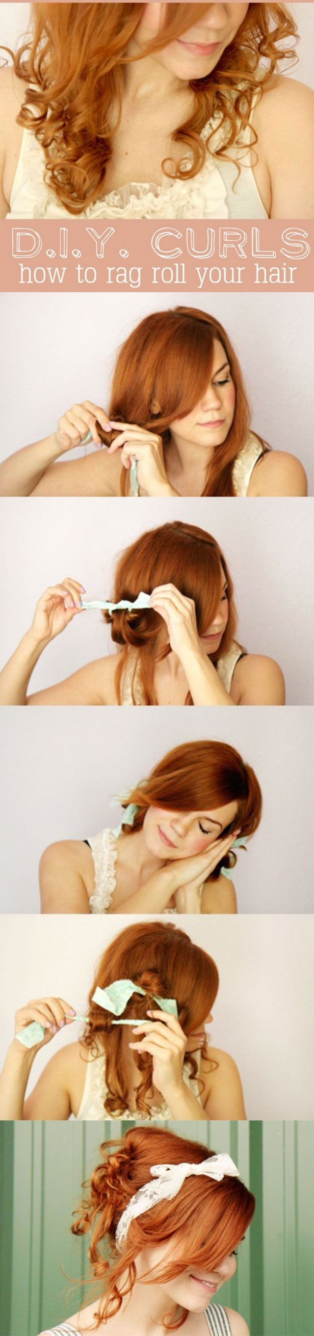 Cute-Holiday-Hairstyles-How-to-Rag-Roll-your-Hair Hair Styling For Girls Step By Step Tutorial Part