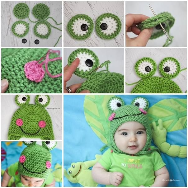 diy-baby-crochet-frog-hat-tutorial DIY Creative Crochet Ideas & Patterns - Step by step
