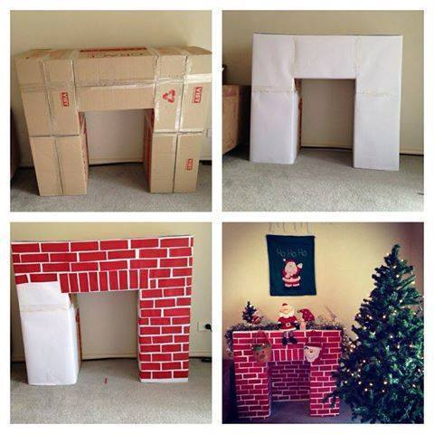 diy-cardboard-christmas-fireplace-tutorial Last-Minute DIY Christmas Gift Tutorials Everyone will Love