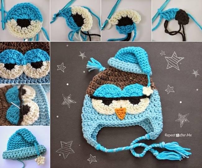 diy-cute-crochet-owl-hat-pattern DIY Creative Crochet Ideas & Patterns - Step by step