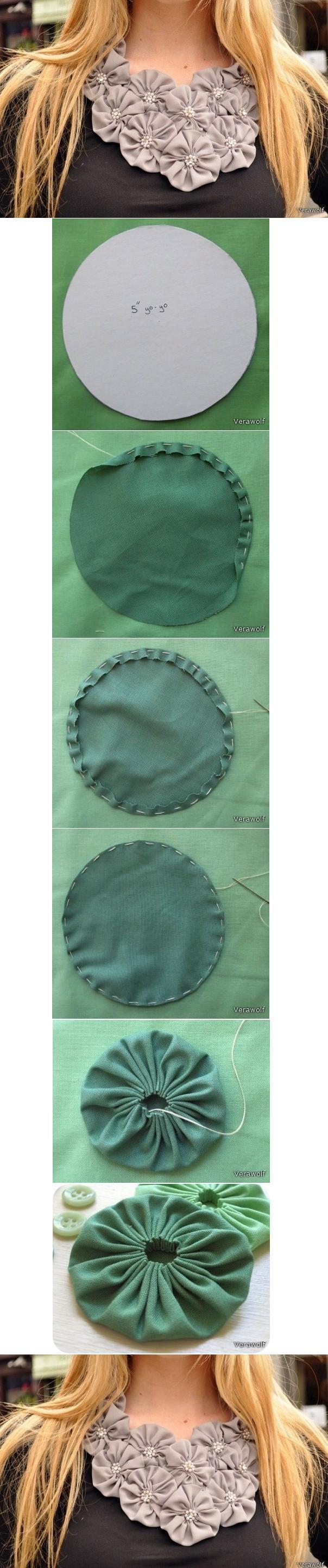 diy-fabric-flower-ornament DIY Step by Step Fabric Flowers