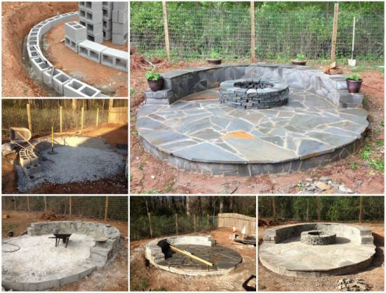 diy-flagstone-fire-pit-patio DIY Tractor Tire Fish Pond