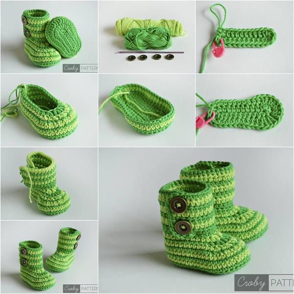 diy-green-zebra-crochet-baby-booties DIY Creative Crochet Ideas & Patterns - Step by step