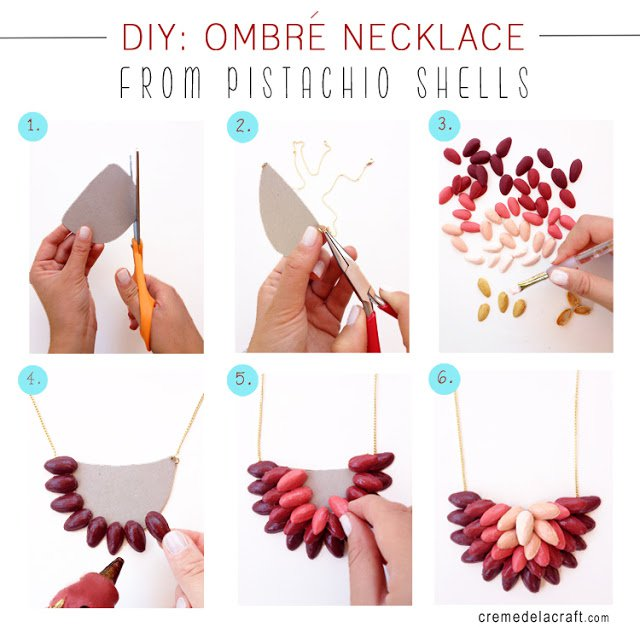 DIY-Handmade-Creme-de-la-Craft-Ombre-Necklace-Pistachio-Shells-Craft-Upcycle Step by Step Tutorial for Jewelry Making