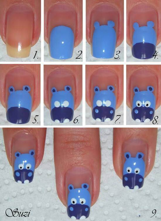 diy-hippo-nail-art Simple and Easy Nail Art Tutorial - Step by step