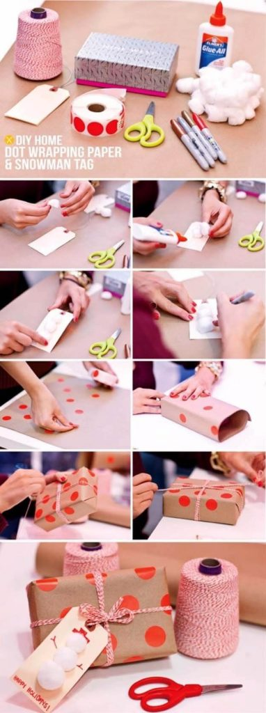 Brown paper and red polkas step by step gift wrapping guide Simple Step by Step Gift Wrapping Tutorials