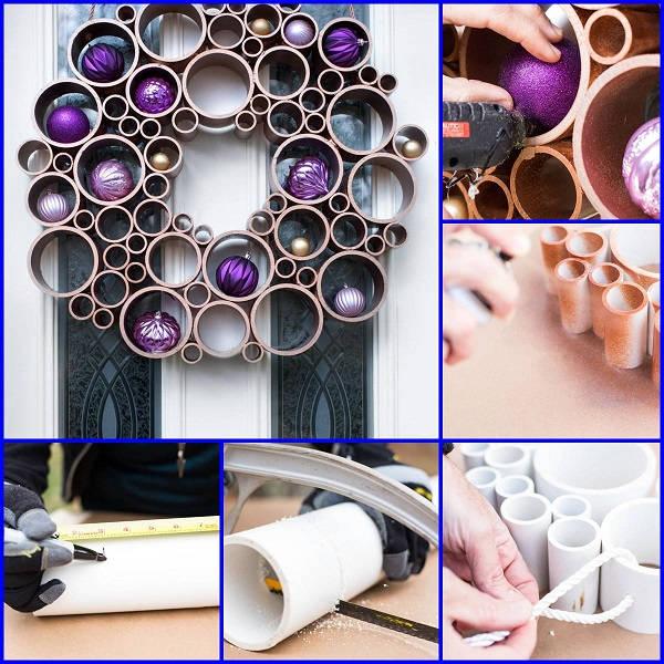diy-metallic-pvc-pipe-wreath Christmas Wreath Step by Step Ideas
