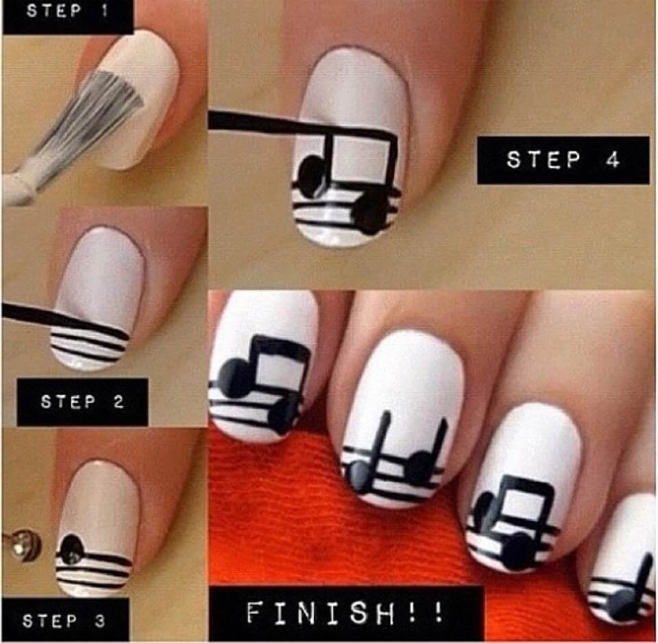 diy-music-notes-nail-art Simple and Easy Nail Art Tutorial - Step by step