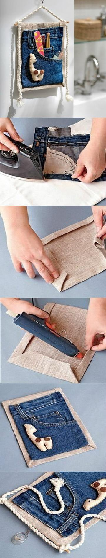 diy-old-jeans-organizer DIY Clever Projects from OLD DENIM JEANS - Step by step tutorial