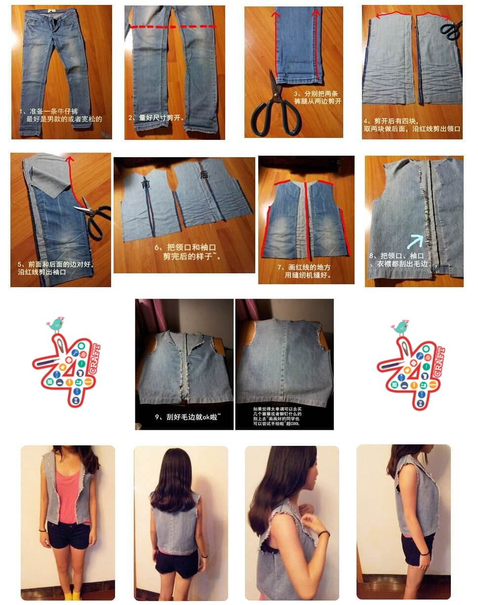 DIY-Old-Jeans-Vest-idea DIY Clever Projects from OLD DENIM JEANS - Step by step tutorial