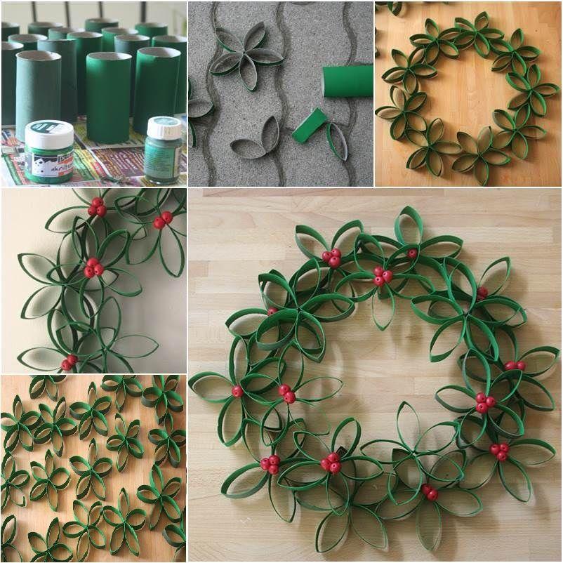 diy-paper-roll-wreath-tutorial Christmas Wreath Step by Step Ideas