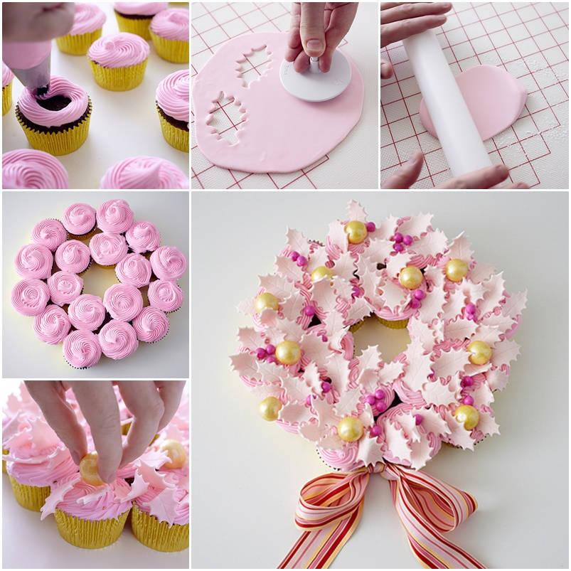 diy-party-cupcake-wreath Christmas Wreath Step by Step Ideas