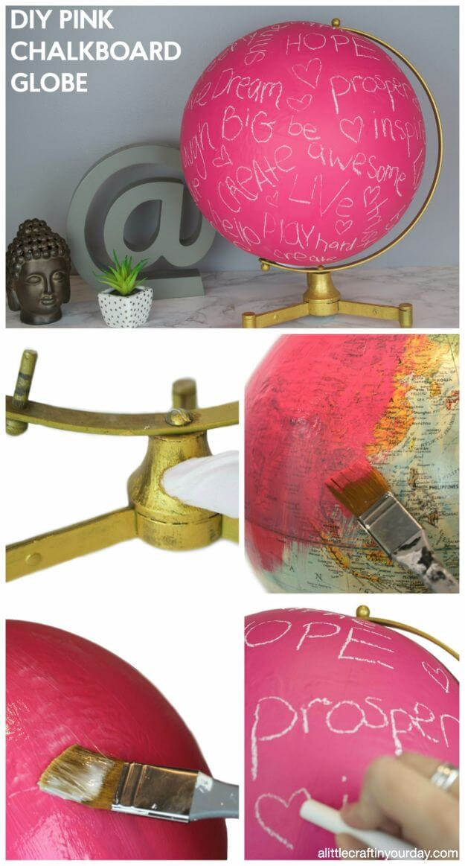 DIY Pink Chalkboard Globe DIY Decor Ideas For Teen Girls (Step by step)