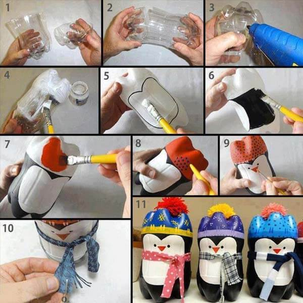 DIY-Plastic-Bottles-Snowman-idea Step by Step Tutorial : Best out of waste ideas from plastic bottles