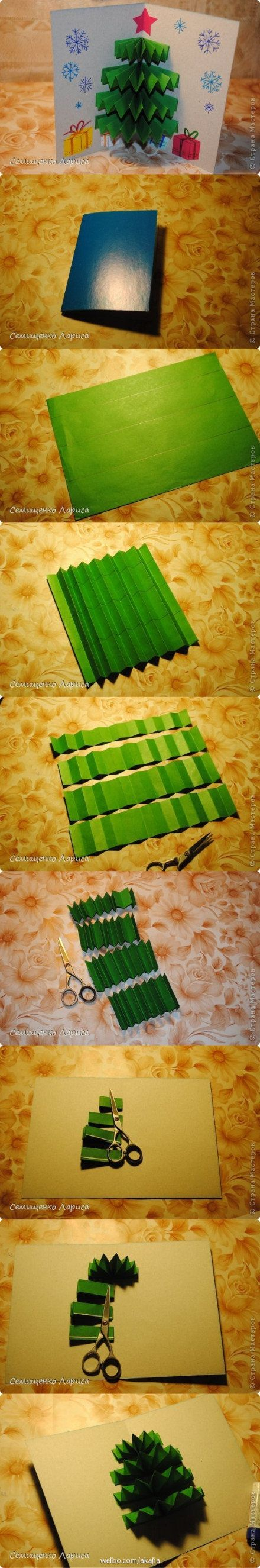 diy-pop-up-christmas-tree-card Step by step Christmas Tree Crafts for Kids to Make