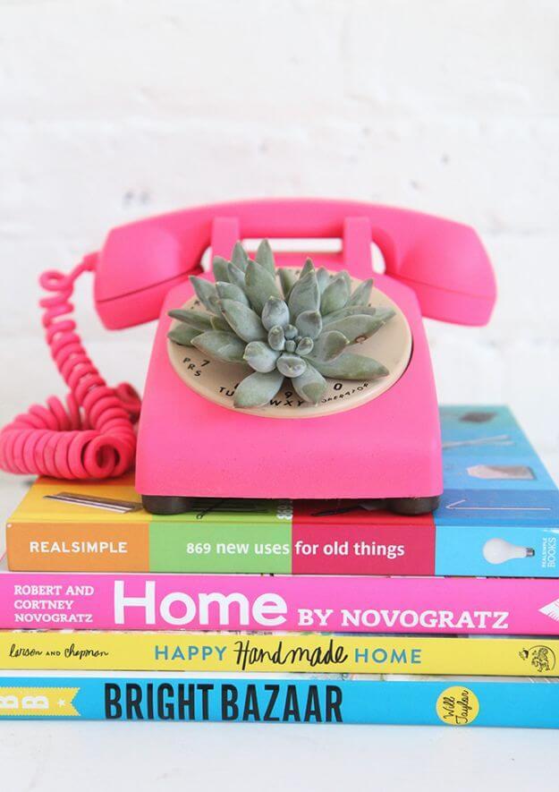 DIY Rotary Phone Succulent Planter DIY Decor Ideas For Teen Girls (Step by step)