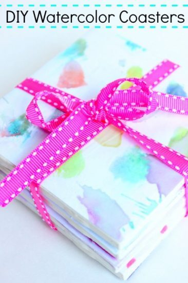 diy-watercolor-coasters-kid-made-gift Holiday Simple Gift Giving Ideas Kids Can Make