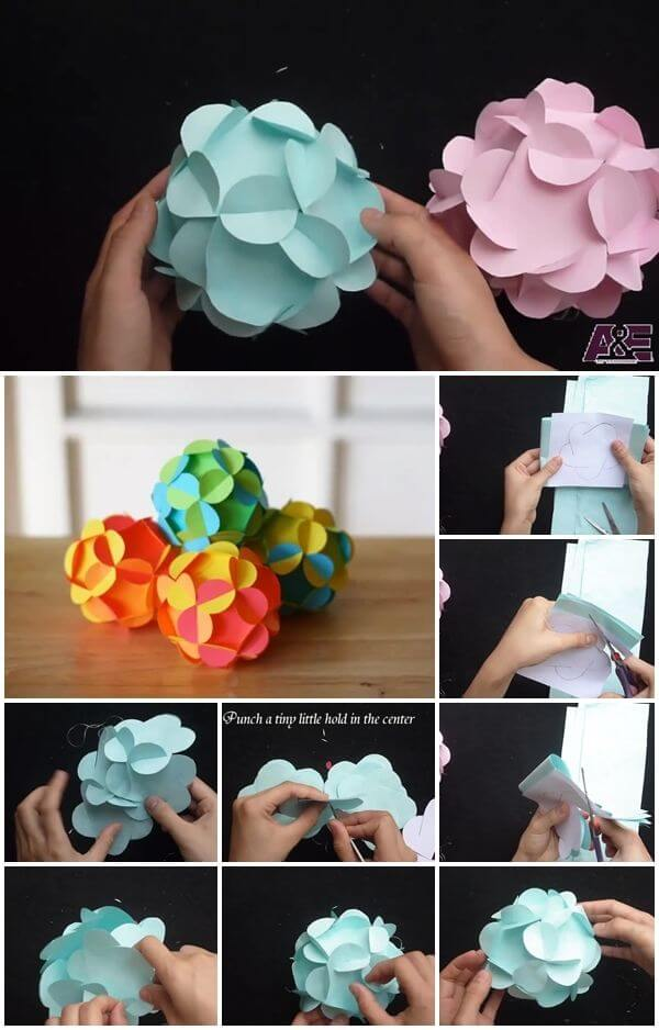 easy-way-to-make-a-3d-paper-flower-ball Amazing DIY Paper Craft Ideas (Step by Step)