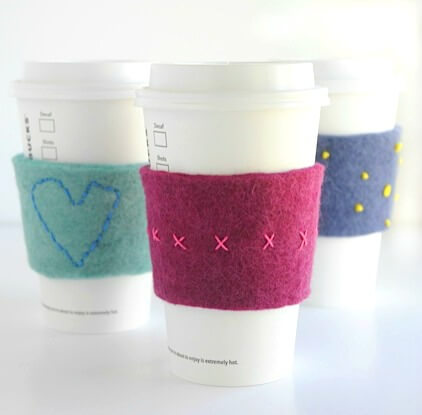 felt-embroidered-coffee-cup-cozies Holiday Simple Gift Giving Ideas Kids Can Make
