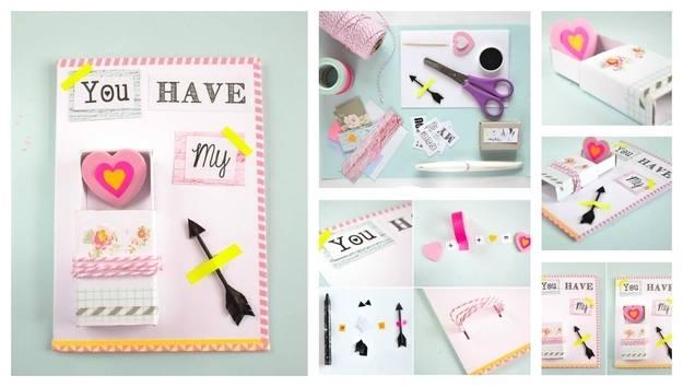 heart-arrow-shape-card DIY: Heart & Arrow Design Handmade Card Easy Handmade Birthday, Gift Cards (Step by Step)