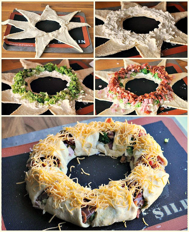how-to-make-crescent-wreath DIY Food Christmas Wreath Step by Step Tutorial