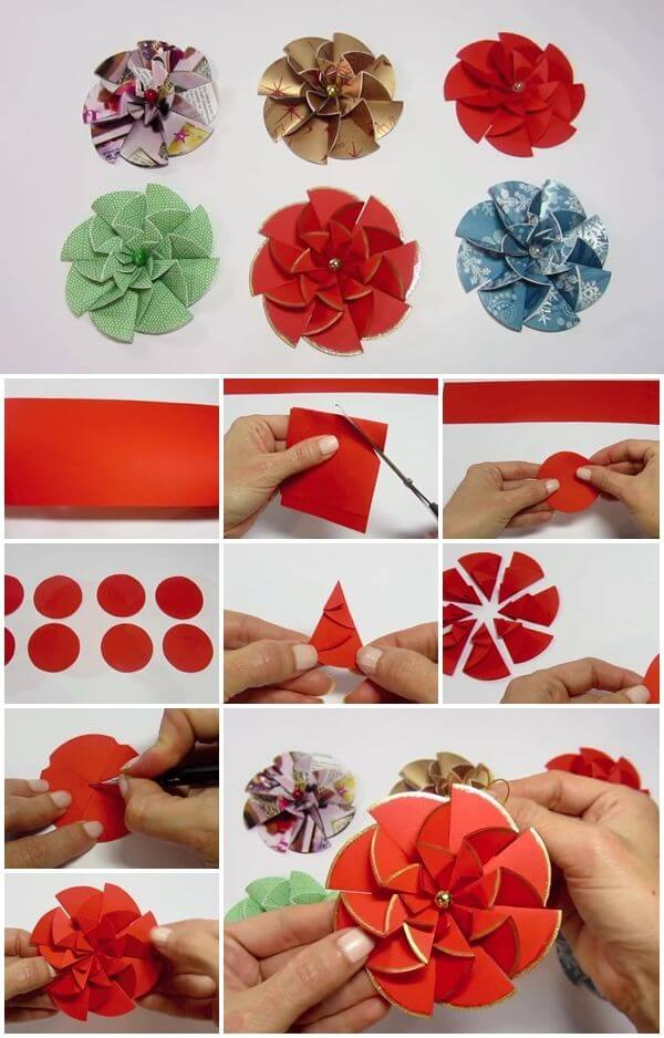how-to-make-easy-modular-paper-flower DIY Paper Flower Step by step making tutorials