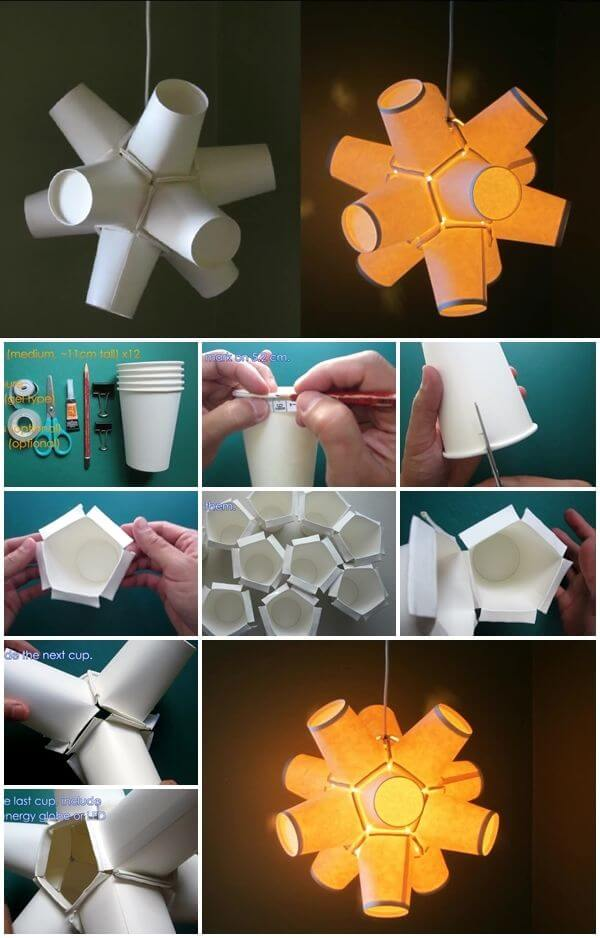 how-to-make-paper-cup-lamp Amazing DIY Paper Craft Ideas (Step by Step)
