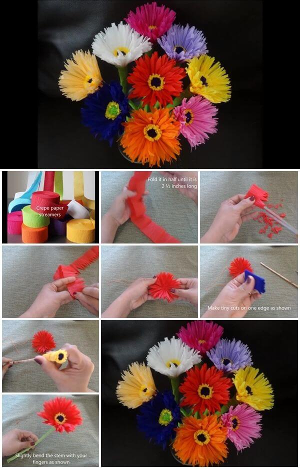 how-to-make-paper-flowers-out-of-crepe-streamers DIY Paper Flower Step by step making tutorials