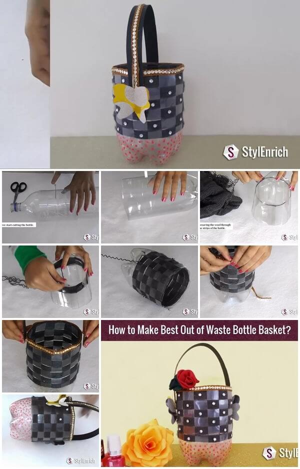 how-to-make-plastic-bottle-utility-basket DIY Step by Step Plastic Bottle Crafts Ideas