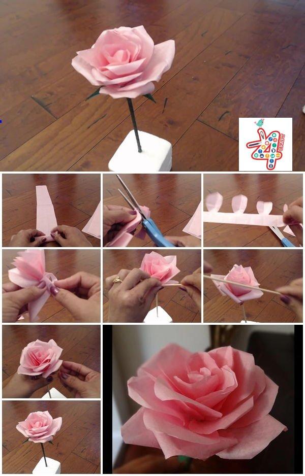 How-to-Make-Tissue-Paper-Rose-Flower-k4craft DIY Paper Flower Step by step making tutorials