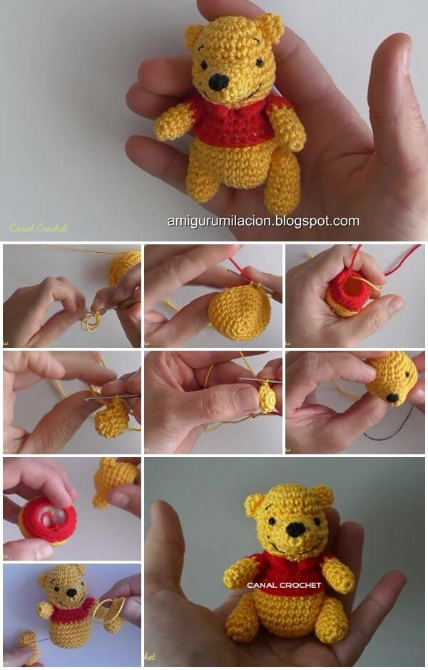 how-to-make-winnie-pooh-amigurumi Step by step Crochet Amigurumi Patterns Animals