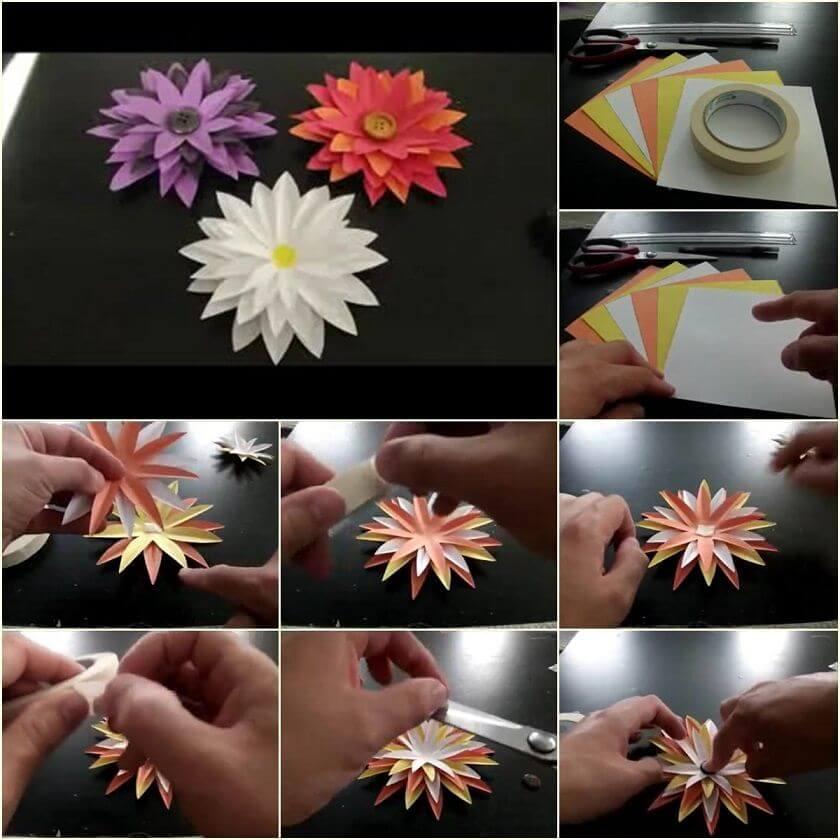 paper-flower-tutorial-step-by-step DIY Paper Flower Step by step making tutorials