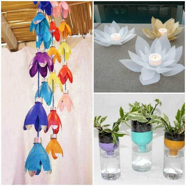 Plastic-Bottle-decoration-DIY-Projects Step by Step Tutorial : Best out of waste ideas from plastic bottles