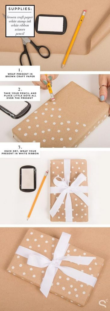Beautiful polka dots step by step gift wrapping guide Simple Step by Step Gift Wrapping Tutorials